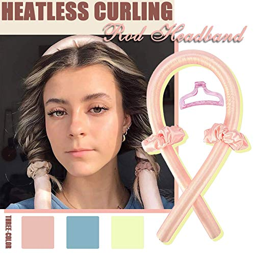 Leyerer Heatless Curling Rod Headband Curly Hair Rod Big Wave Curling Stick, Heating Head Ribbon, Lazy Hair Curler Set, 1PC Curling iron+2PC Hair Ring+1PC clip, Curling Tool With Wave Shape (Hot Pink)