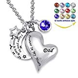 YOUFENG Urn Necklaces for Ashes I Love You to the Moon and Back for Dad Cremation Urn Locket Birthstone Jewelry (September urn necklace)