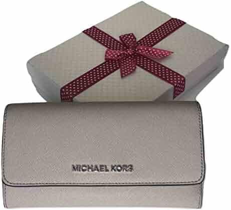 fd5e4bcaa6a2 Michael Kors Jet Set Travel Large Trifold Wallet Saffiano Leather (Cement)
