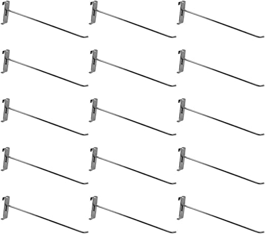 """5 PC 12/"""" Chrome Long Grid Wall Metal Hooks Display For Use W// Gridwall Panels"""