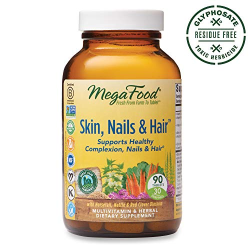 MegaFood, Skin, Nails & Hair, Supports Healthy Complexion, Nails & Hair, Multivitamin & Herbal Dietary Supplement, Gluten Free, Vegan, 90 Tablets (30 Servings) (FFP)