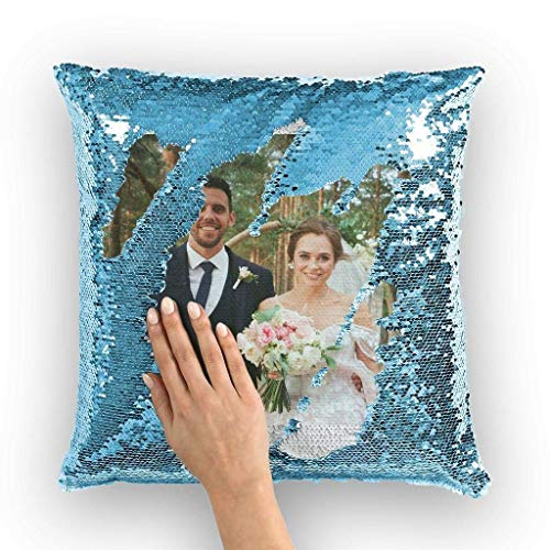 FabricMCC Sequin Pillow Personalized, Custom Sequin Pillow,Hidden Message Pillow, Mermaid Pillow,Wedding, Photo Pillow, Rose Gold, Silver Sequin Cover(Blue)