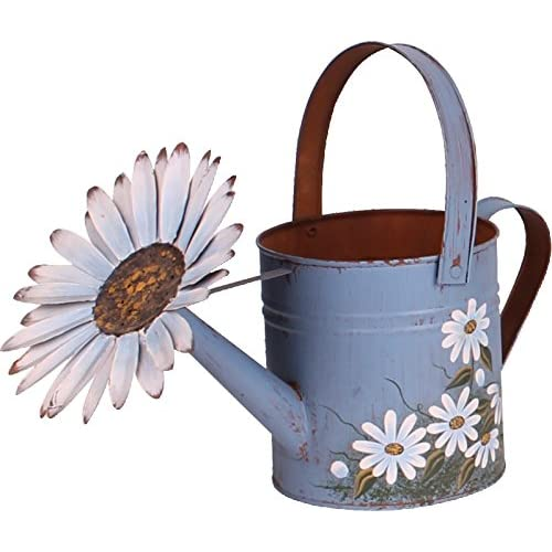 Antique Finish Spring Decorative Watering Can (Blue)