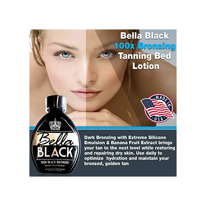 Bella-Black-100X-Tanning-Lotion--Premium-Tanning-Bed-Lotion-with-Extreme-Silicone-Emulsion-and-Banana-Fruit-Extract--Instant-Results--Dark-Tanning-Lotion-for-Indoor-Tanning-Beds-135oz