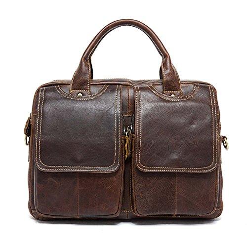 Bolsos de cuero de los hombres de múltiples funciones bolsa de bolso de bolso de estilo retro Cuatro colores Dark Brown