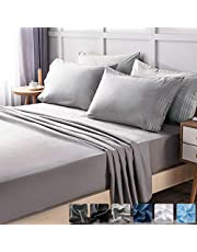 LIANLAM Queen 6 Piece Bed Sheets Set - Super Soft Brushed Microfiber 1800 Thread Count - Breathable Luxury Cooling Sheets Deep Pocket - Wrinkle and Fade Resistant - Hypoallergenic (Grey, Queen)