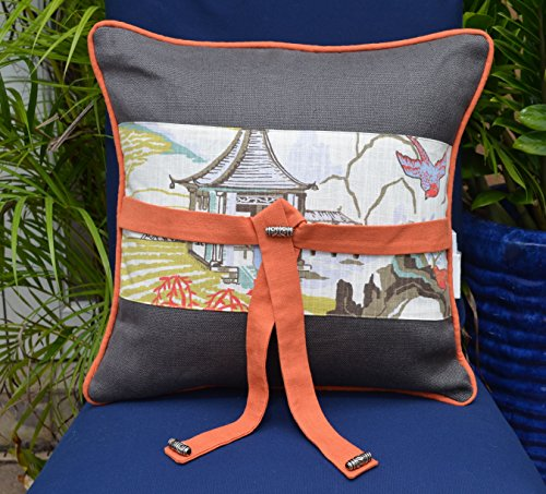 Japanese Garden Collection # 136 Grey-Orange Decorative Pillow 18