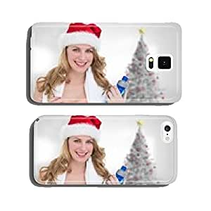 Composite image of festive fit blonde holding bottle of water cell phone cover case iPhone6 Plus
