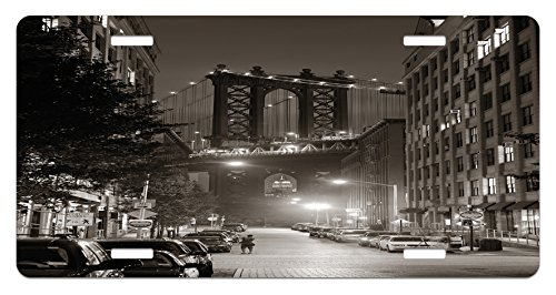 Urban License Plate by Lunarable, Manhattan Bridge from Street at Night Downtown New York States United States Photo, High Gloss Aluminum Novelty Plate, 5.88 L X 11.88 W Inches, Army Green
