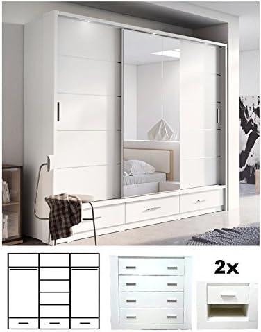 Brand New Modern Bedroom Furniture Set Arti 1 Sliding Door Wardrobe 250cm Chest Of Drawers 2x Bedside Cabinets In White Matt Sold By Arthauss Amazon Co Uk Kitchen Home