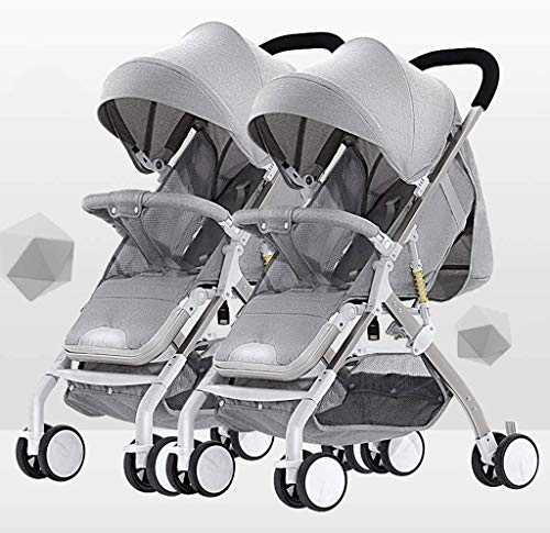 Tandem Foldable Stroller, Easy Folding Baby Stroller with Side by Side Twin Seats,Double Toddler Baby Pram with Baby Basket Anti-Shock Springs, Portable Anti-Shock High View Carriage (Color : Gray)