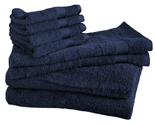 Cotton & Calm Exquisitely Plush and Soft 8 Piece Bath Towel Set, Navy Blue - 2 Large Bath Towels, 2 Hand Towels, and 4 Washcloths - Spa and Hotel Quality, Super Absorbent Luxury Bathroom Towels by Cotton & Calm