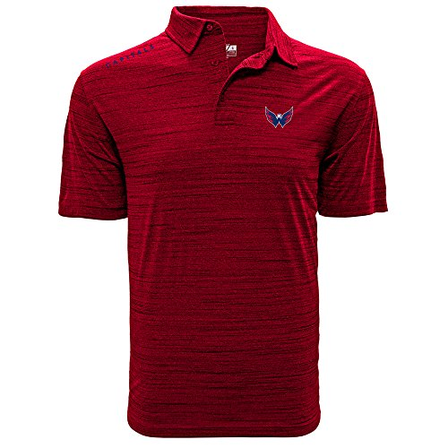 NHL Washington Capitals Men's Sway Wordmark Polo, Large, Heather Fire Red
