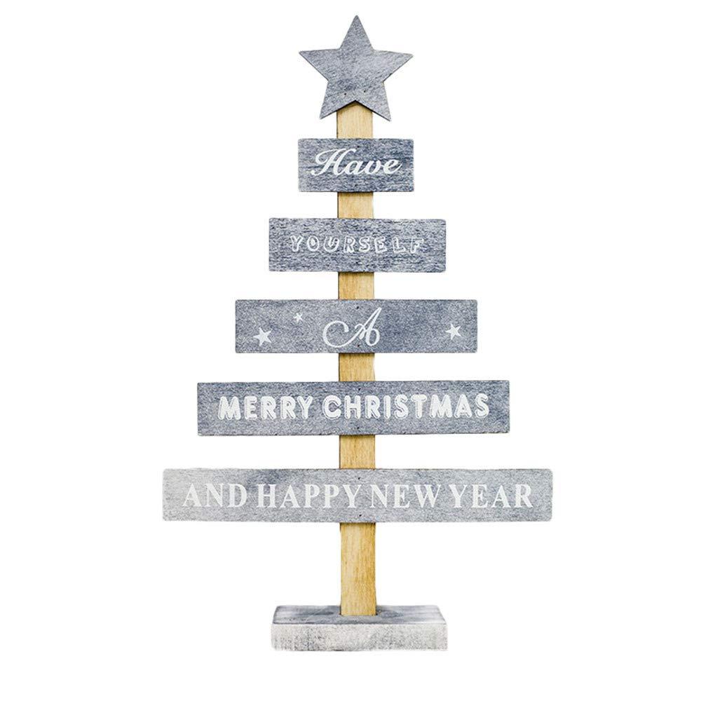 Amazon.de: RWINDG Holz Mini Weihnachtsbaum Desktop Ornamente Merry ...
