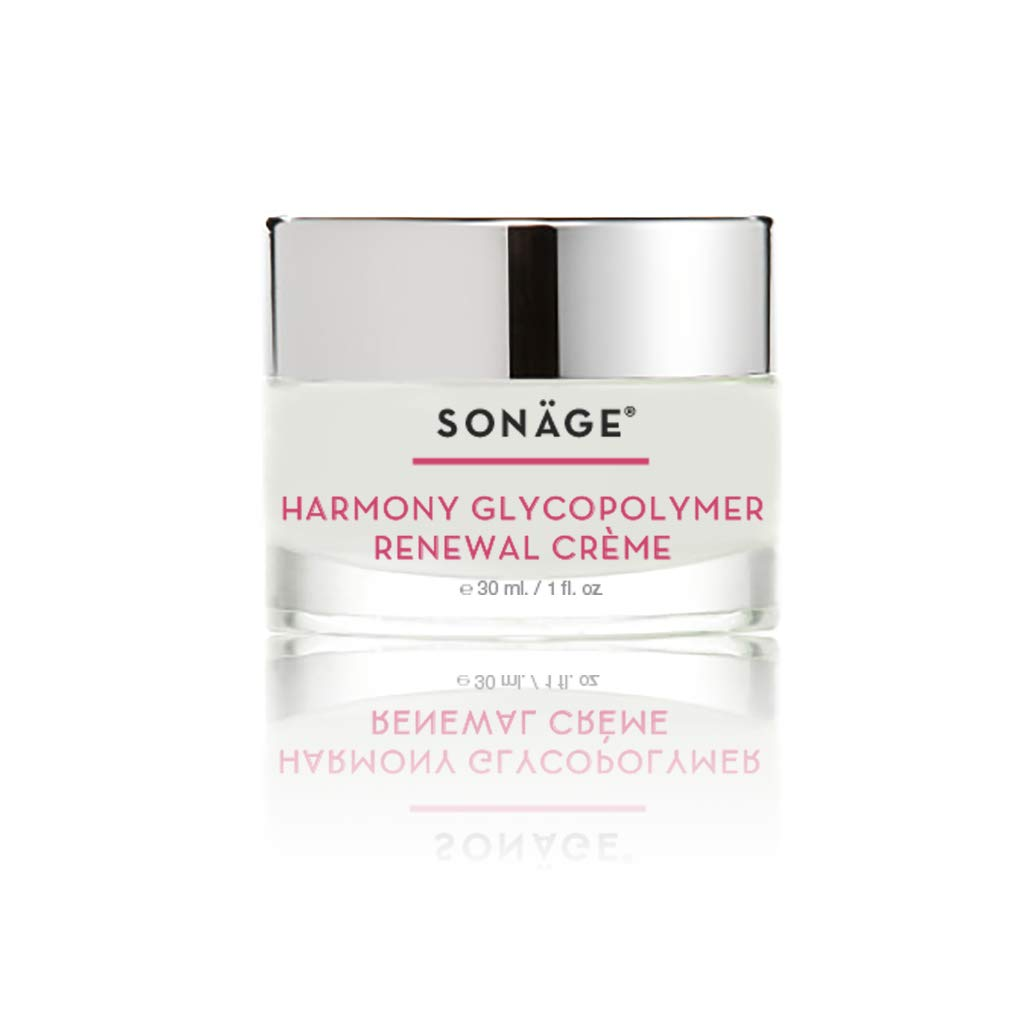 Sonage Harmony Glycopolymer Renewal Creme - Glycolic Acid Cream Face Moisturizer - Exfoliating, Anti Aging Cream with AHA for All Skin Types - Accelerates Cell Renewal, Collagen, Elastin, 1 oz