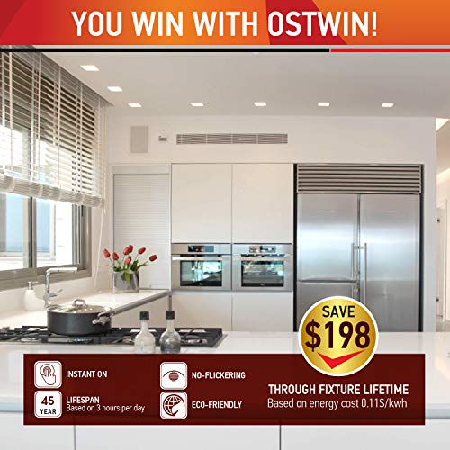 OSTWIN (12 Pack) 4 inch 9W (45 Watt Repl.) IC Rated LED Recessed Low Profile Slim Square Panel Light with Junction Box, Dimmable, 5000K Daylight 630 Lm. No Can Needed ETL & Energy Star Listed by OSTWIN (Image #5)