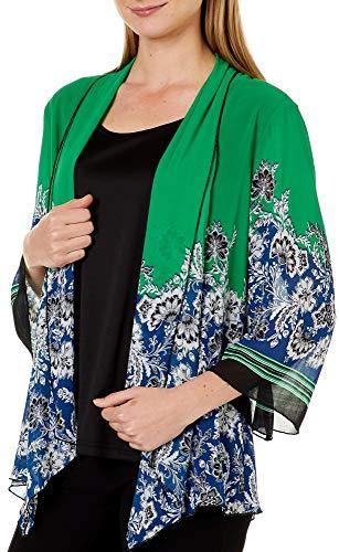 - Sara Michelle Womens Damask Stripe Print Duet Top Small Green/Blue/Black