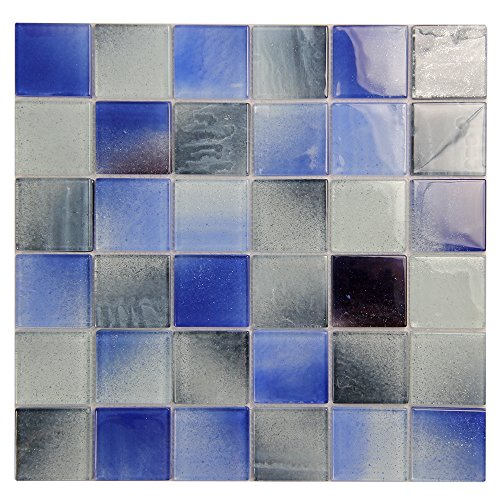 Extant Blue and Black Mix 2x2 Sparkle Pool Tile - Double Pressed Glass on Mesh Mounted Sheet - Durable for Weather Elements (4 x 6 Inch (Swimming Pool Glass Tile)