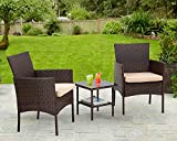 3 Piece Furniture Patio Chairs Wicker Outdoor