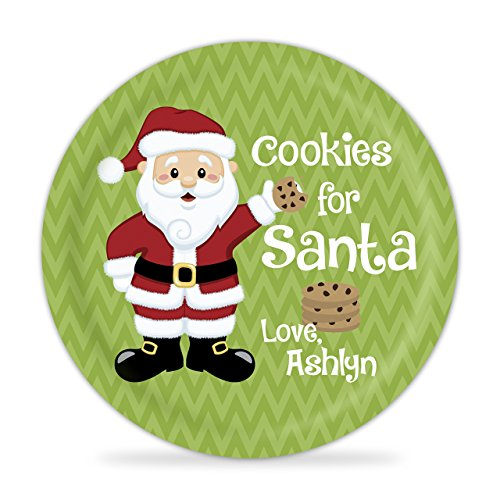 Cookies for Santa Personalized Plate - Christmas Eve Cookies Kids Melamine Personalized Plate
