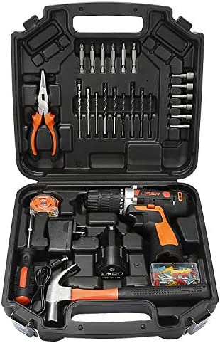 Jaer Cordless Power Drill and Home Tool Kit, Set with 3 8 Inches Keyless Chuck 28 Pcs Screwdriver Bits