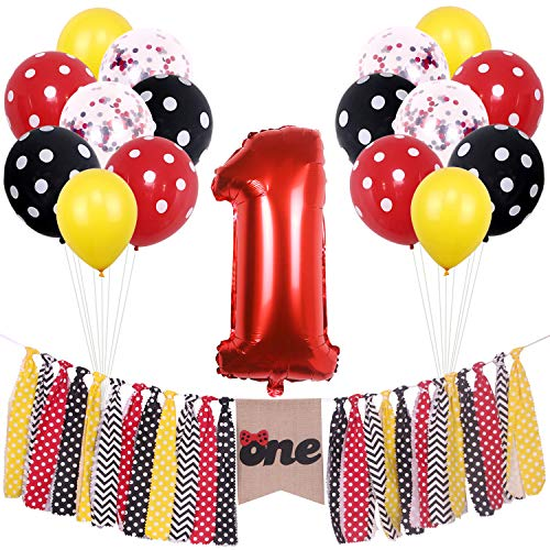 ONINIT Yellow Red and Black Polka Dot Mickey and Minnie 1st birthday Party Supplies Highchair Banner One for Baby Girls Boys first Birthday Decorations,Cake Smash Photo Props Shoot Banners, Confetti Balloons and Latex Balloons Set -