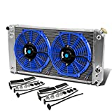 "Sonoma/Jimmy/S10/Blazer 4.3L Aluminum Racing 3-Row Radiator+12"" Fans (Blue)+Mounting Kit"