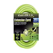 Flexzilla 727-123025FZL5F 25-Feet 12-3 Outdoor Extension Cord with Lighted Plug, Green