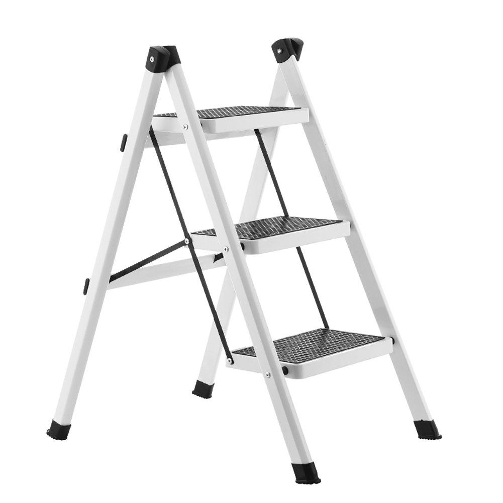 YXX- 小さな折りたたみステップ台所用ラダー&リビングルーム大人用屋外鉄折り畳み式踏み台ポータブルストレージシェルフ/フラワーラック (色 : 白, サイズ さいず : 3 tiers) B01LRZFG7S  白 3 tiers