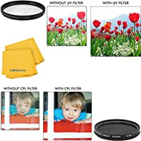 49mm Circular Polarizer Multi-Coated Filter and UV Protective Multi-Coated All-Purpose Filter for Panasonic HC-X900M Cameras
