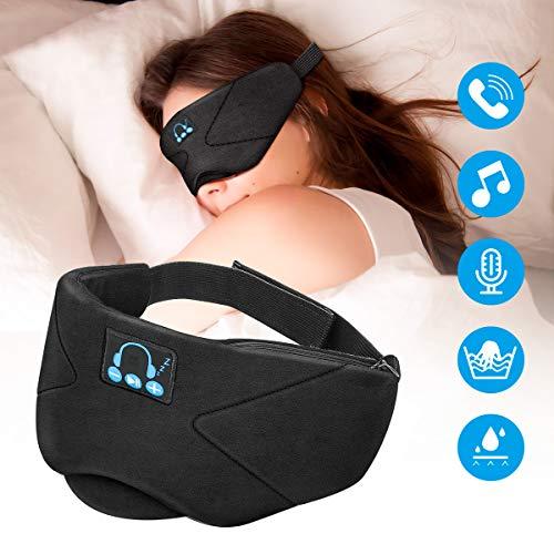 Sleep Headphones Eye Mask, Jhua Bluetooth 5.0 Wireless Sleeping Headphones Eye Cover Washable Travel Music Headsets with Built-in Speakers Microphone Handsfree for Travel Siesta Yoga – Black