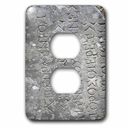 3dRose lsp_51708_6 Latin Text Latin, Roman, Ephesus, Roman Ruins, Ruins, Travel, History, Inscription, Turkey 2 Plug Outlet Cover by 3dRose