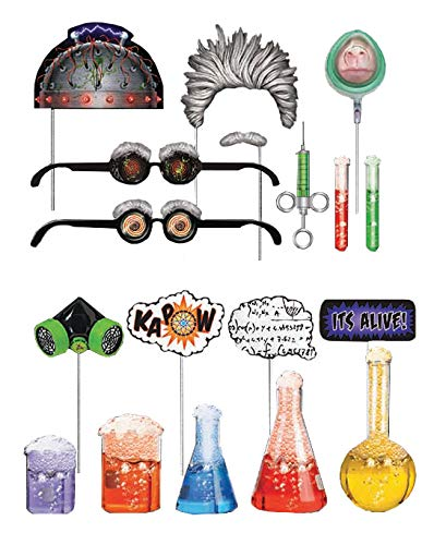 Mad Scientist Photo Booth Props Set for Science Lab Teaching and Science Party Supplies - Fully Assembled - 18 Pcs.