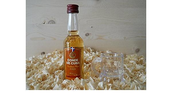 Botellin miniatura Ron Conde de Cuba Añejo con vasito chupito ...