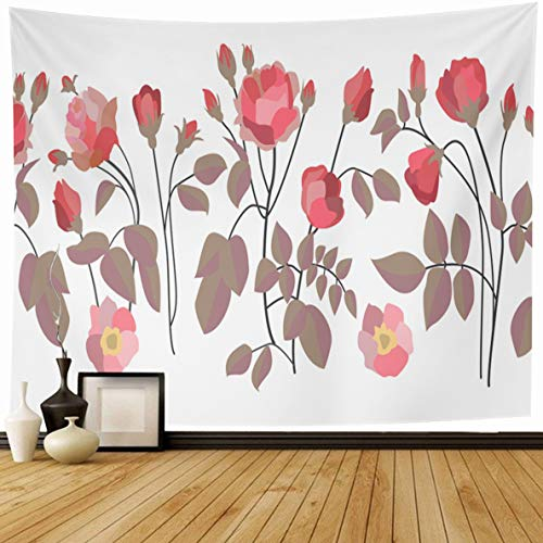 Ahawoso Tapestry 80 x 60 Inches Pink Nouveau Wide Border Bloomig Roses Abstract Floral Art Red Artsy Bloom Blossom Bohemian Boho Home Decor Wall Hanging Print for Living Room Bedroom Dorm