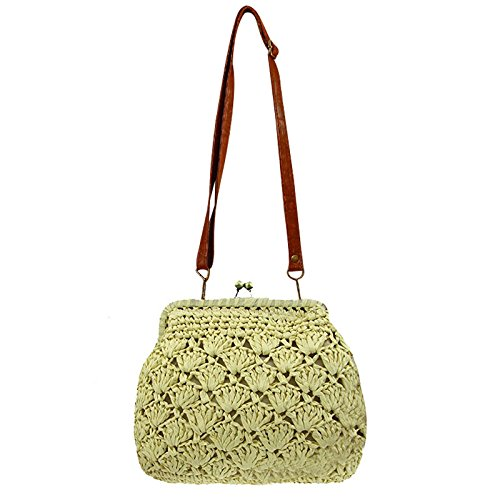 Donalworld Lady Mini Hollow Out Casual Beach Bag Hasp Straw Shoulder Bag Beige