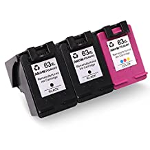 Aken Remanufactured Ink Cartridge Replacement for HP 63 63XL F6U64AN High Yield Compatible with HP OfficeJet 3830 3831 4650 4655 Deskjet 2130 2131 2132 HP ENVY 4520 4516 4510 4511 4513 Printer, 3 Pack (2*Black 1*Tri-Color)