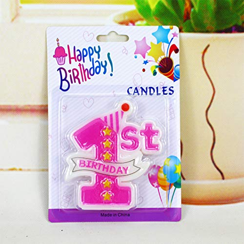 Creationtop Birthday Candles - 1st Birthday Candle - 1st Birthday Candles - Wedding Love Candles for Cake (Pink 1st) ()