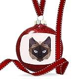 Christmas Decoration Geometric Animal art Siamese Cat Ornament