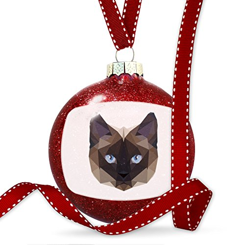 Christmas Decoration Geometric Animal art Siamese Cat Ornament by NEONBLOND