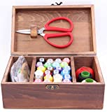 Wooden Sewing Kit Set - Wood Basket Storage Organizer Box With Professional Hand Sew Supplies Thread Spools Pins Needles Scissors For Men Women Adults Kids Beginners Emergency Repairs (Brown)