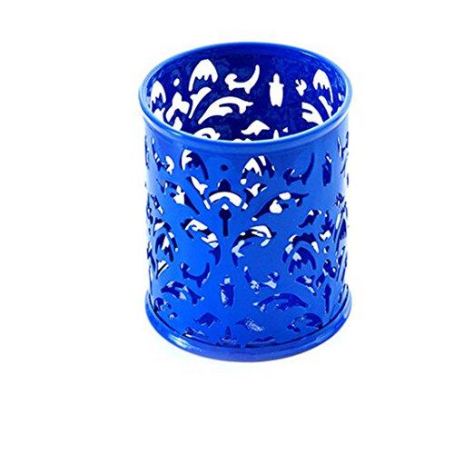 Lucoo Fashion Makeup Brush Vase Pattern Brush Pot Pen Holder Stationery Storage (Blue)
