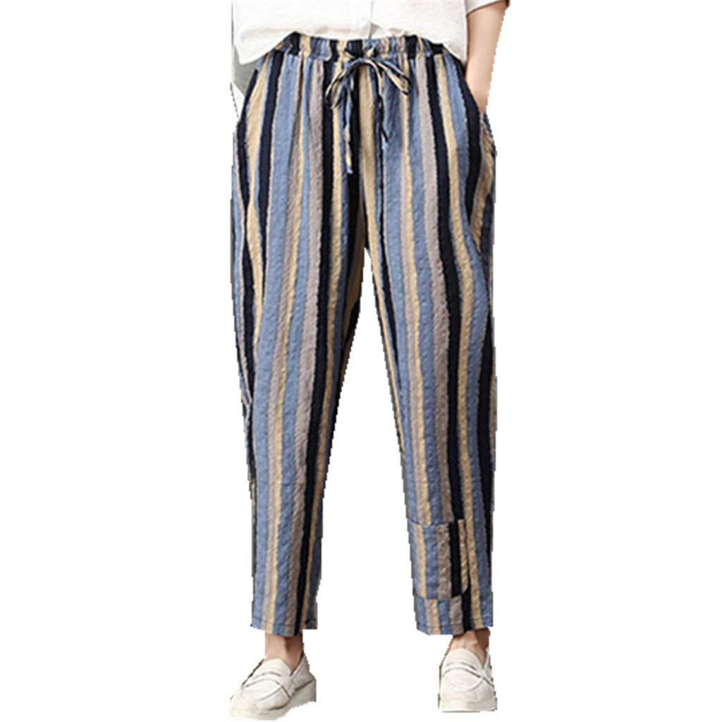 wodceeke Women's Summer Cotton Linen Striped Trousers Casual Sports Pants Cotton Cropped Pants (M, Blue)