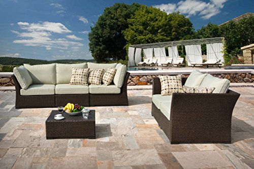 Supernova 6 piece sorrel brown wicker outdoor seating sofa for Outdoor furniture quebec