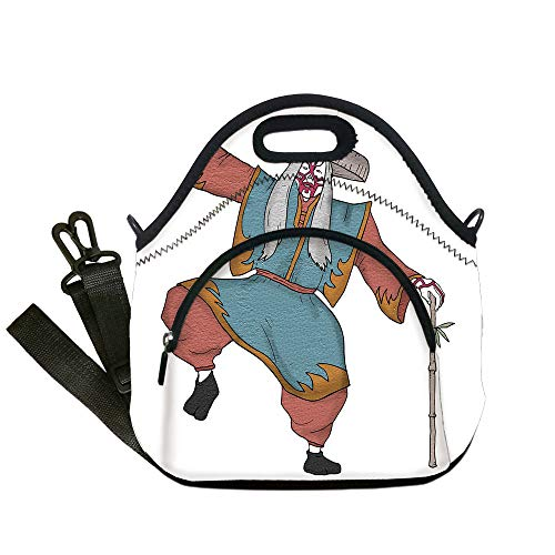 Insulated Lunch Bag,Neoprene Lunch Tote Bags,Kabuki Mask Decoration,Cultural Asian Character Posing Traditional Hat Makeup and Costume Decorative,Multicolor,for Adults and children]()