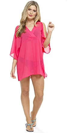 08fdc49b79 Tom Franks Ladies Cold Shoulder Chiffon Kaftan/Beach Cover Up (Large, Pink)