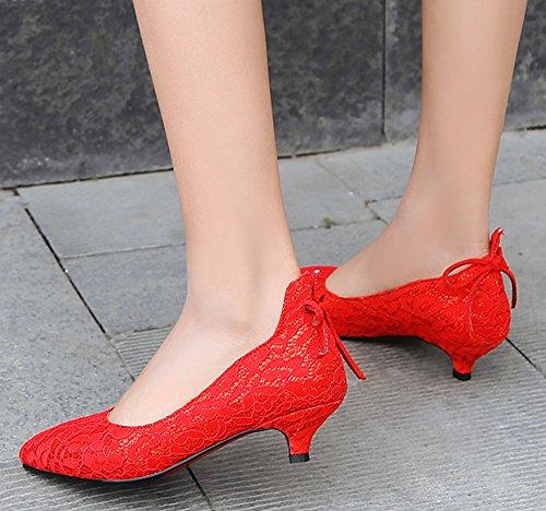 Dentelle Rouge Fashion de Femme Escarpins Easemax on Fille Mariage Chaussure Slip OXgn4Bx