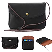 """Universal Cell Phone Cross-body Purse,Mini Phone Shoulder Bag Soft PU Leather Carrying Cases for Apple iPhone 6s/6 Plus iPhone 6/6s,Samsung Galaxy S6 and Note Series and Phones Under 5.5""""-Black"""
