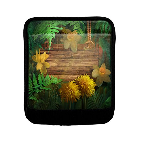 Yellow Flowers Wood Luggage Handle Wrap Finder