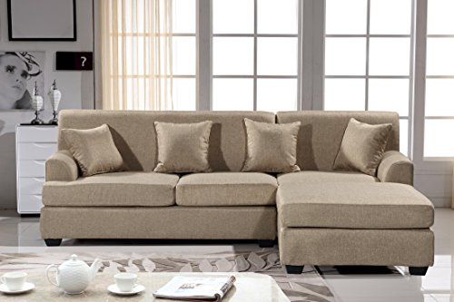 Oliver Smith - Large Light Brown Linen Cloth Modern Contemporary Upholstered Quality Sectional Left or Right Adjustable Sectional 92